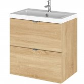 Hudson Reed Fusion Wall Hung 2-Drawer Vanity Unit with Basin 500mm Wide - Natural Oak