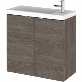 Hudson Reed Fusion Wall Hung 2-Door Vanity Unit with Compact Basin 600mm Wide - Brown Grey Avola