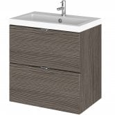 Hudson Reed Fusion Wall Hung 2-Drawer Vanity Unit with Basin 500mm Wide - Brown Grey Avola