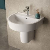 Hudson Reed Marlow Comfort Basin and Semi Pedestal 420mm Wide - 1 Tap Hole
