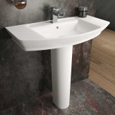 Hudson Reed Maya Basin with Full Pedestal 550mm Wide - 1 Tap Hole
