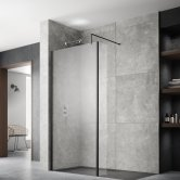 Hudson Reed Wet Room Screen with Black Support Bar 1400mm Wide - 8mm Glass