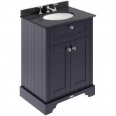 Hudson Reed Old London Floor Standing Vanity Unit with 3TH Basin 600mm Wide - Twilight Blue/Black