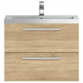 Hudson Reed Quartet Vanity Unit with Basin 720mm Wide Wall Mounted - Natural Oak