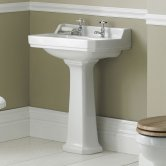Hudson Reed Richmond Basin with Full Pedestal 560mm Wide - 2 Tap Hole