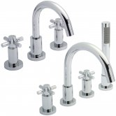 Hudson Reed Tec Crosshead 3 Hole Basin Mixer Tap and 4 Hole Bath Mixer Tap, Chrome