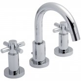 Hudson Reed Tec Crosshead 3-Hole Basin Mixer Tap with Pop Up Waste - Chrome