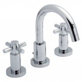 Hudson Reed Tec Crosshead 3-Hole Basin Mixer Tap with Pop-Up Waste - Chrome