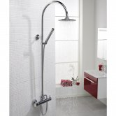 Hudson Reed Minimalist Bar Mixer Shower with Shower Kit + Fixed Head