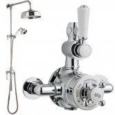 Hudson Reed Topaz Exposed Shower Valve with Rigid Riser Kit - Chrome