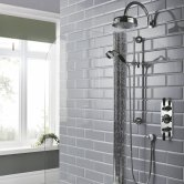 Hudson Reed Topaz Black Concealed Shower Mixer with Slider Rail Kit + Fixed Head - Chrome