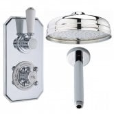 Hudson Reed Topaz Concealed Shower Valve with Fixed Shower Head + Ceiling Mounted Arm - Chrome