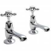 Hudson Reed Topaz Dome Basin Taps, Pair, Chrome