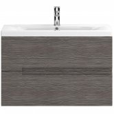 Hudson Reed Urban 2 Wall Hung Vanity Unit and Basin 2 Brown Grey Avola - 800mm Wide