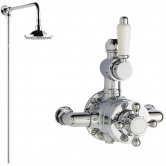 Hudson Reed Victorian Exposed Shower Valve, Rigid Riser Kit, Fixed Shower Head, Chrome