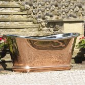 Hurlingham Bulle Copper Bath with Copper Exterior and Nickel Interior Finish 1700mm x 740mm - 0 Tap Hole