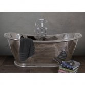 Hurlingham Bulle Copper Bath with Nickel Finish 1700mm x 740mm - 0 Tap Hole