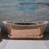 Hurlingham Bulle Reserve Copper Bath with Copper Exterior and Nickel Interior Finish 2000mm x 740mm - 0 Tap Hole