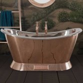 Hurlingham Copper Bateau Bath with Copper Exterior and Nickel Interior Finish 1500mm x 730mm - 0 Tap Hole
