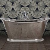 Hurlingham Dietrich Copper Bath with Nickel Finish 1740mm x 720mm - 0 Tap Hole