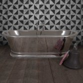 Hurlingham Zille Copper Bath with Nickel Finish 1940mm x 870mm - 0 Tap Hole