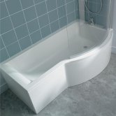 Ideal Standard Concept Shower Bath 1700mm x 700mm/900mm Right Handed 0 Tap Hole White