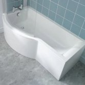 Ideal Standard Concept Shower Bath 1700mm x 700mm/900mm Left Handed 0 Tap Hole - White