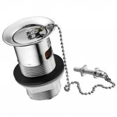 Ideal Standard 1.25 Inch Chrome Plated Plastic Waste with Plug and Chain - Slotted