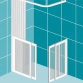 Impey Elevate Option 1 Corner Half Height Door 1500mm x 1200mm - Left Handed