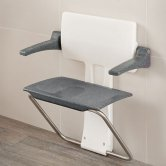 Impey Slimfold Shower Seat, Black Granite