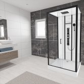 Insignia Monochrome Rectangular Non Steam Shower Cabin 1150mm x 850mm - Midnight Matte Black Frame