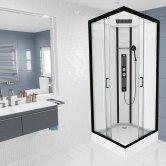 Insignia Monochrome Square Non Steam Shower Cabin 900mm x 900mm - Midnight Matte Black Frame