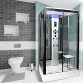 Insignia Platinum Rectangular Non Steam Shower Cabin 1050mm x 850mm - Black Frame