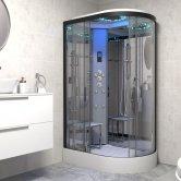 Insignia Platinum Offset Quadrant Non Steam Shower Cabin 1100mm x 700mm LH - Black Frame