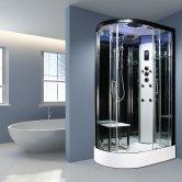 Insignia Platinum Offset Quadrant Non Steam Shower Cabin 1100mm x 700mm RH - Black Frame