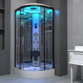 Insignia Premium Quadrant Steam Shower Cabin 800mm x 800mm - Black Frame