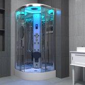 Insignia Premium Quadrant Steam Shower Cabin 800mm x 800mm - Chrome Frame