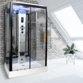 Insignia Premium Rectangular Steam Shower Cabin 1050mm x 850mm - Black Frame