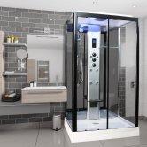 Insignia Premium Rectangular Non Steam Shower Cabin 1050mm x 850mm - Black Frame