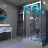 Insignia Premium Rectangular Steam Shower Cabin 1050mm x 850mm - Chrome Frame
