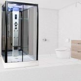 Insignia Premium Rectangular Non Steam Shower Cabin 1150mm x 850mm - Black Frame