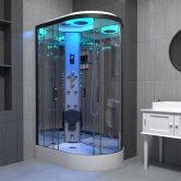 Insignia Premium Offset Quadrant Steam Shower Cabin 1100mm x 700mm LH - Black Frame