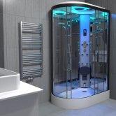 Insignia Premium Offset Quadrant Steam Shower Cabin 1100mm x 700mm RH - Black Frame
