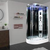 Insignia Premium Offset Quadrant Steam Shower Cabin 1100mm x 700mm RH - Chrome Frame