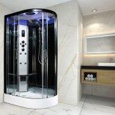 Insignia Premium Offset Quadrant Non Steam Shower Cabin 1200mm x 800mm LH - Black Frame