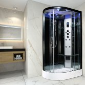 Insignia Premium Offset Quadrant Non Steam Shower Cabin 1200mm x 800mm RH - Black Frame