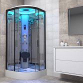 Insignia Premium Quadrant Non Steam Shower Cabin 900mm x 900mm - Black Frame