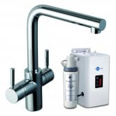 InSinkErator 3N1 L Shape Kitchen Sink Mixer Tap with Neo Tank and Filter - Brushed Steel