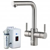 InSinkErator 4N1 L Shape Kitchen Sink Mixer Tap with Neo Tank and Filter - Brushed Steel