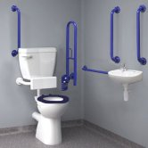 Inta Standard Doc M Pack with 6L Low Level Disabled Toilet & Mixing Valve - Blue